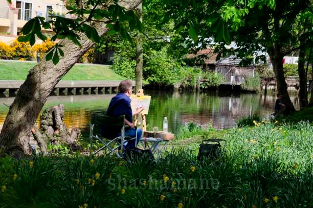 a painter in the peaceful surrounds of cow tower, by the wensum