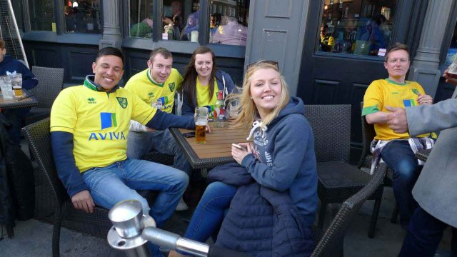 some of the city fans relaxing before the game