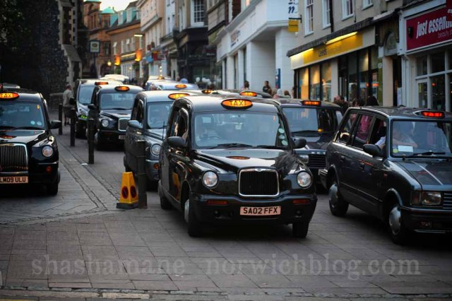 massed taxis