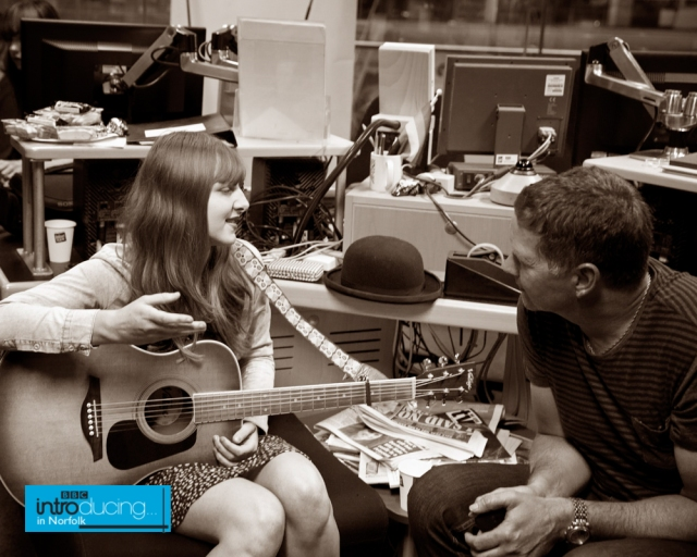 Natalie prepares to chat to Gary and sing her track