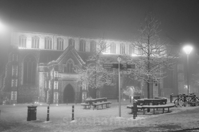 st andrews hall in the snow