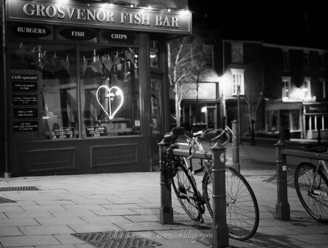 Late night photo, passing by the Grosvenor Fish Bar