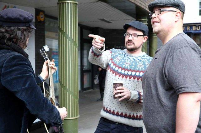 Jonny Walker, Matt Watson, and Bob Garrard-Williams, seen here having just donated his own guitar