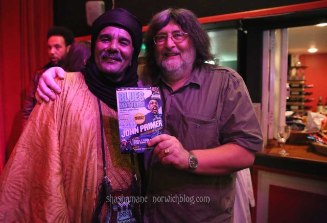 Steve, of Blues Matters magazine, with Tinariwen in the Norwich Arts Centre Bar after the gig
