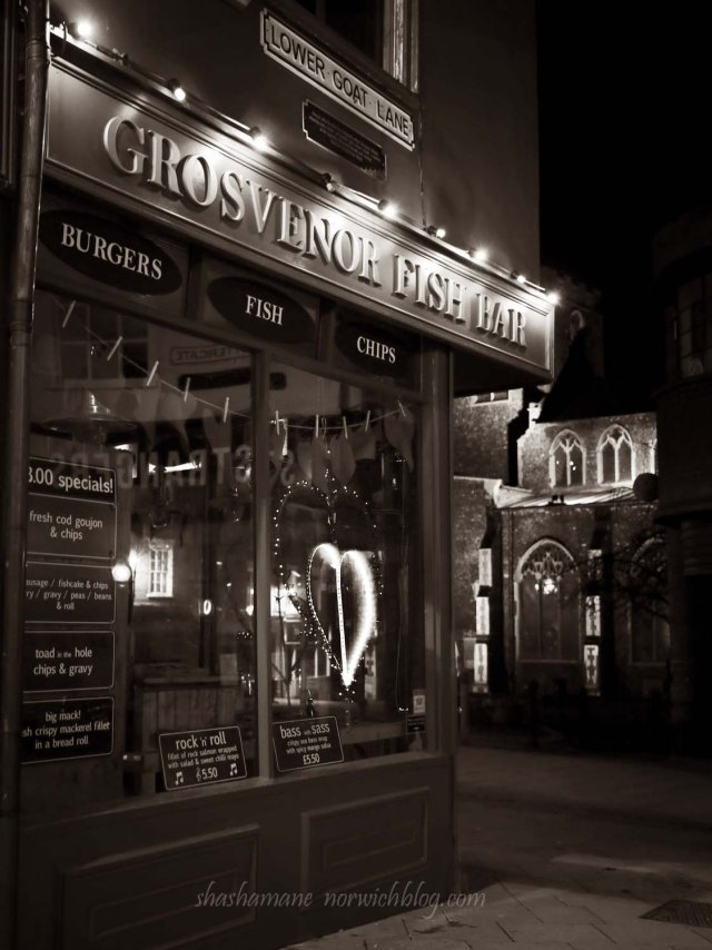 grosvenor fish bar, night time norwich