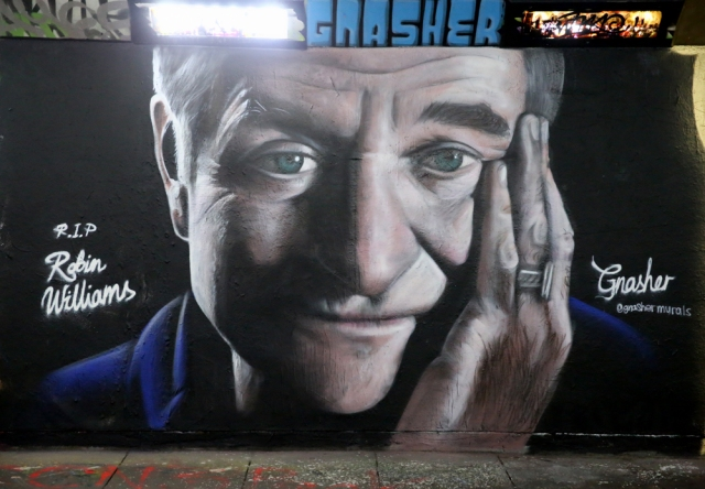 "Robin Williams street mural tribute, by ""Gnasher"""