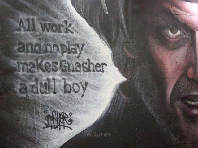 """""""All work and no play makes Gnasher a dull boy"""" New street mural by the artist Gnasher"""