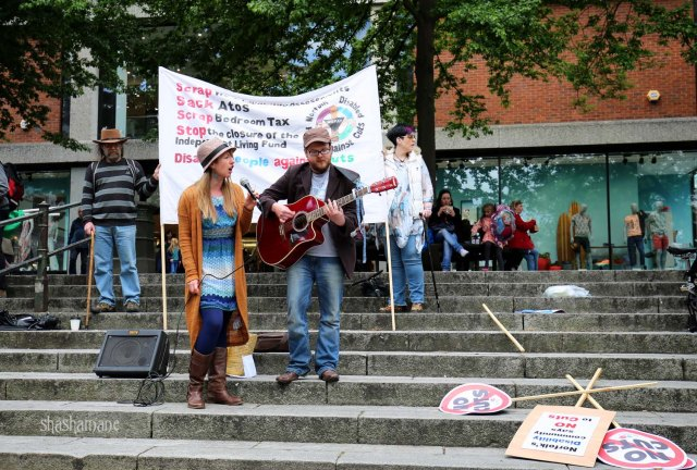 Dove and Boweevil at the Norfolk People's Assembly demo (c) shashamane 2015