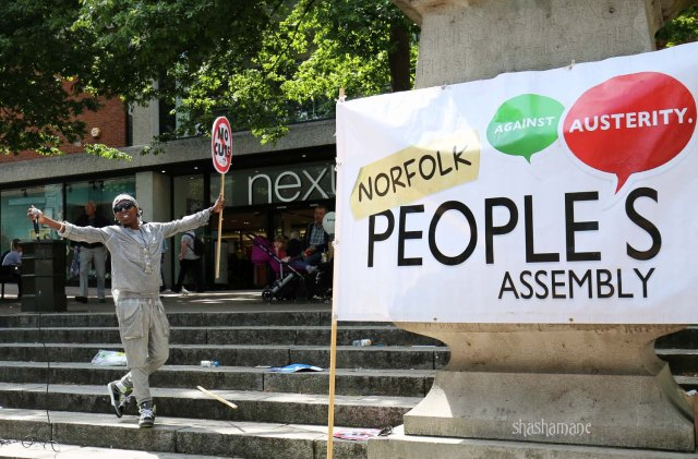 Queen Addi at the Norfolk People's Assembly demo (c) shashamane 2015