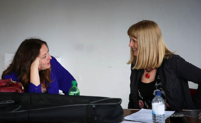 Kathryn being interviewed by Jane of Folkspot Radio (c) shashamane 2015