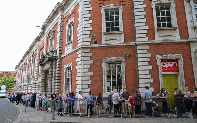 The queue outside OPEN in Norwich, some two hours before the first speaker even took the mic. (c) shashamane 2015
